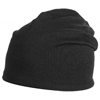 Chicago Oversize XXL Long Beanie Mütze Baumwolle Strickmütze (One Size - schwarz)