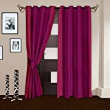 "Story@Home Eyelet Fancy Polyester 2 Pc COMBO Ringtop Eyelet Designer Door Curtains,  7 ft  46 "" X 84 "" Crimson"