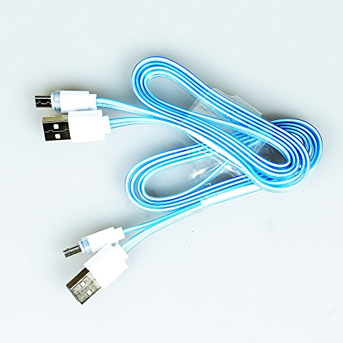 Massmall Visible At Night Led Usb Charger Data Sync Cable For Android (Blue) 1 Pc