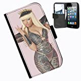 Hairyworm-Nicki Minaj iphone 4 leather side flip wallet case cover for apple iphone 4 and 4s phone