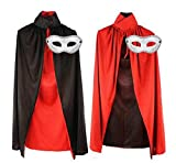 Cosjobロングマント立て襟リバーシブルマスクセット(A208)仮装衣装コスプレ変装怪人吸血鬼ドラキュラマスク仮面ハロウィンブラックレッド赤黒マント(約120cm)