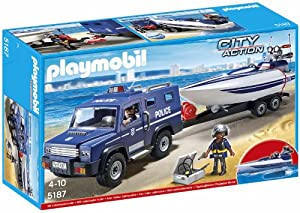Playmobil City Action - Coche de City Action con lancha remolque (5187)