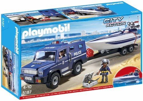 Playmobil Police Police Truck With Speedboat Construction Toy