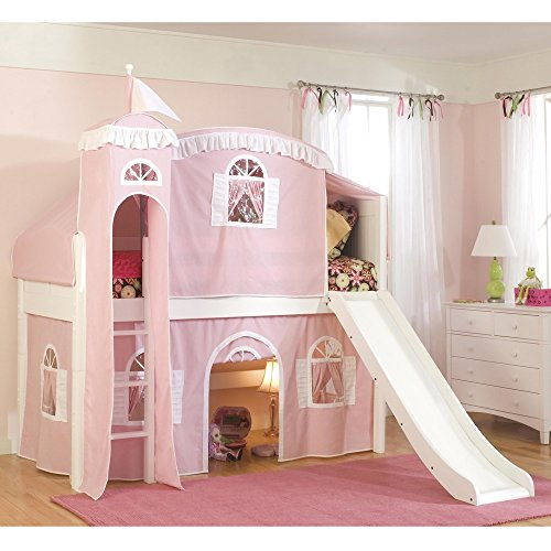 Metro Shop Twin Loft Castle Tower Playhouse Bed With Slide And Ladder-Pink/White Tower,Top Tent,Curtain With Slide front-212833