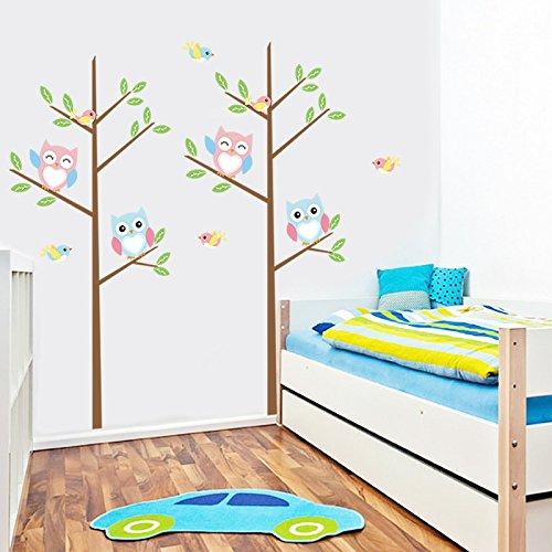 [해외]어린이 방 보육 아??기 소년 & A를위한 나무 올빼미 조류 벽 ...