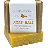 Neem Soap Bar. All Natural Face Wash & Acne Body Wash. 100% Natural & Organic. Artisan Neem Oil Soap with Therapeutic Lemongrass & Geranium Essential Oils