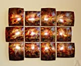 Abstract Tin Contemporary Wall Art Block Sculpture Brown Red