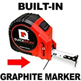 16' Foot QUICKDRAW PRO Self Marking Tape Measure - 1st Measuring Tape with a Built in Pencil - Contractor Grade Steel Tape - 16 Foot Power Locking Tape Ruler