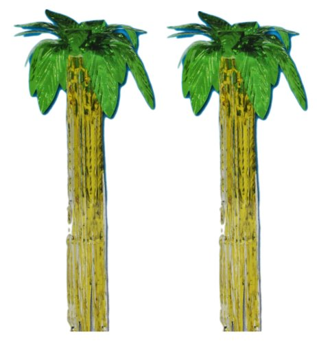 Set of 2 Metallic Palm Tree Foil Luau Wind Waver 3Ft Decoration - 1