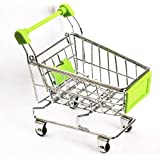 Mini Supermarket Shopping Cart Decoration, Storage Box, Cellphone Holder, Creative Novelty Gift Green