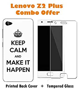 Lenovo Z2 Plus Printed Multicolor Hard Back Cover with Premium Tempered Glass Combo By Make My Print