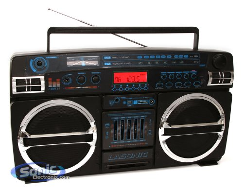 Lasonic i-931BTQ (i931-BTQ) Bluetooth Portable Stereo w/ Classic Ghetto Blaster Design - Limited Edition (iPhone, iPod, iPad, Android Compatible)