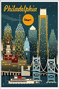 Philadelphia Pennsylvania Retro Skyline
