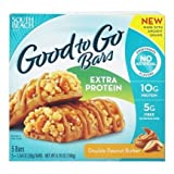 South Beach Diet Good To Go Bars, Extra Protein, Double Peanut Butter Bars, 1.34 Oz, 5 Count (Pack Of 2)
