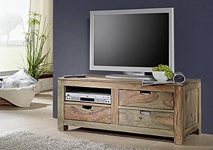 Sheesham massivmöbel meuble bas en bois de palissandre massif naturel gris#0114