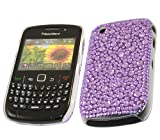 ITALKonline FunkGem PURPLE DOTS Diamonte Crystals Super Hydro Gel Protective Armour/Case/Skin/Cover/Shell for BlackBerry 8520 Curve, 9300 3G