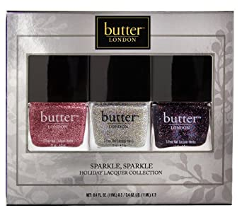 butter LONDON Sparkle Sparkle Holiday Laquer Collection, Set, Rosie Lee / Fairy Cake / The Black Knight, 3-teilig
