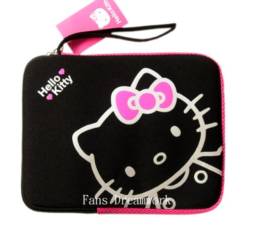AUTH SANRIO HELLO KITTY LAPTOP MINI NOTEBOOK BAG BLACK 10″