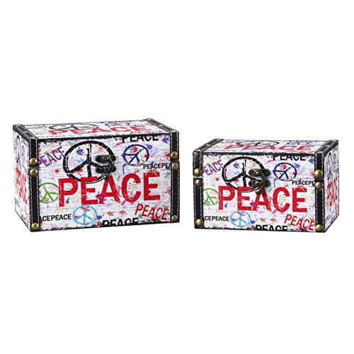Household Essentials Decorative Storage Box, Peace Design, Set of 2