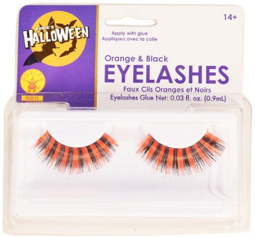 Rubies Black and Orange Eyelashes and Adhesive