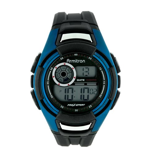 Armitron Men's 491014ELBI Sport Black and Blue Accented Digital Sport Watch