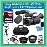 Sony HXR-NX70U NXCAM Compact Camcorder with 96GB Flash Memory Starter Package Includes NPFV100 Battery, 32GB SDHC Memory Card +.45x Wide Angle Lens + 2 X Telephoto + More!!!!