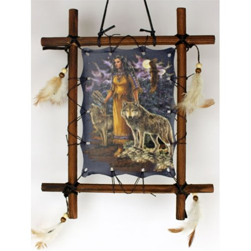 Indian Maiden w/ Wolves Framed Indian Picture