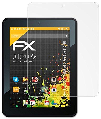 2 x atFoliX Schutzfolie Prestigio MultiPad 2 Pro Duo 8.0 3G Folie Displayschutzfolie - FX-Antireflex blendfrei