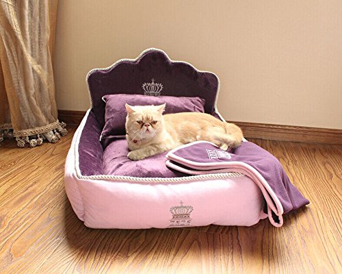 Yicat® (Set of 3) Pet Bed, Quilt and Pillow, Comfortable Soft Full Washable Pet Beds ZEZE Dog Kennel Cotton Nest Teddy Princess Bed Cat Litter (M: 62*51cm, 002:Purple)
