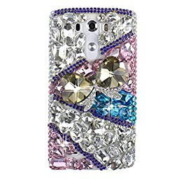 LG G4 Bling Case - Fairy Art Luxury 3D Sparkle Series Heart Bowknot Crystal Design Back Cover with Soft Wallet Purse Red Cloth Pouch - White&Pink&Blue