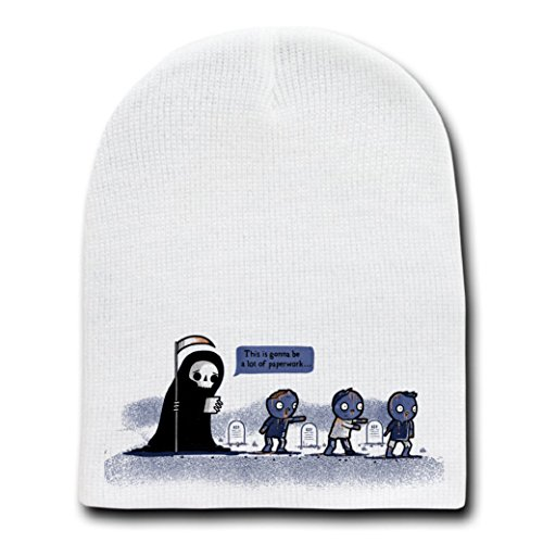 """Paperwork"" Funny Grim Reaper Complaining About Zombies - White Beanie Skull Cap Hat"