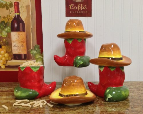 Chili Pepper Deluxe Canisters 3pc Set (Chili Pepper Hat)