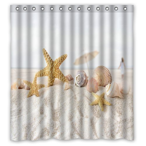 Unique and Generic Star fish sea shell beach Shower Curtain Custom Printed Waterproof fabric Polyester Bath Curtain 66