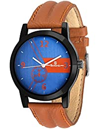 Geonardo's Reflexo Blue Dial Brown Strap Sports Watch For Men And Boys- GDM030