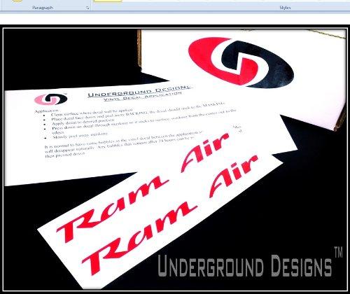 RAM AIR DECALS Firebird Trans Am Formula GTO Hood Stickers 1993-2002 GLOSS RED (Ram Air Hood Firebird compare prices)