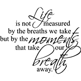 "23""x28"" Life is not measure by the breaths we take but by the moments that take our breath away Wall Art vinyl decals letters home love decor"