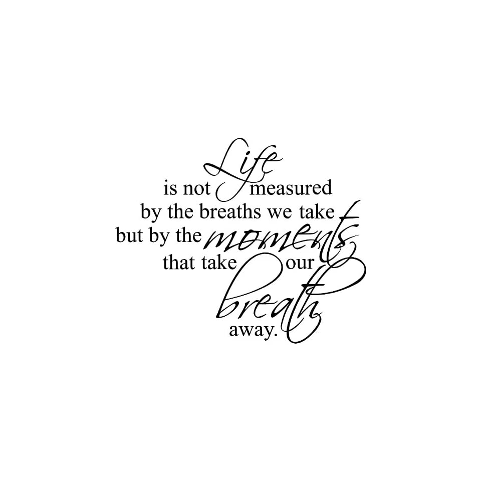 23x28 Life is not measure by the breaths we take but by the moments that take our breath away Wall Art vinyl decals letters home love decor