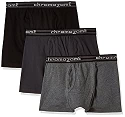 Chromozome Men's Cotton Trunk (Pack of 3) (8902733346825_TC 04_Large_Charcoal, Ash and Black)