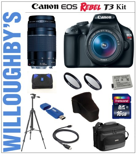 Willoughbys Canon Rebel T3 Double Lens Stimulus Amateur Bundle + Canon Rebel T3 12.2 MP CMOS Digital SLR Camera with EF-S 18-55mm IS II Lens Kit + Canon EF 75-300mm III Telephoto Zoom Lens + Weather Proof Camera Case + Transcend 16GB SDHC Class10 memory card + 6 Inch HDMI to Mini HDMI Cable + Sunpak 6600DX Digital Tripod + LP-E10 Replacement Battery and much more!