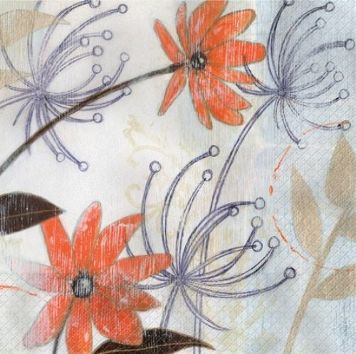 Elise Premium Patterned Beverage Napkins, 24 Count, Urban Floral - Field of Whimsy - 1