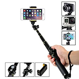 Selfie Stick, Amorus Aluminium Alloy Pocket Extendable Wireless Bluetooth Selfie Stick Monopod Tripod for iPhone 6/6 Plus,Samsung Galaxy S6/S6 Edge/Note 4,Gopro Hero/Hero3/Hero3+/Hero4/Hero4 Session, Digital Cameras and Oher Smartphones (Black)