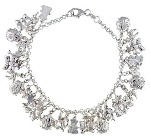 Silver 6 Animal Charms Belcher Bracelet 7.13cm