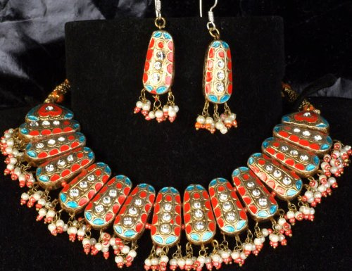 Orange Bridal Necklace and Earrings Set Blue and Golden Accents - Lacquer with Cut Glass