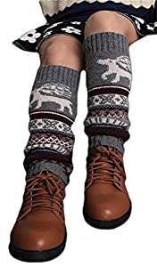 Womens Deer Print Knitted Flat Crochet Leg Warmer from asc