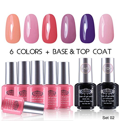 Perfect-Summer-UV-LED-Soak-Off-Gel-Nail-Polish-with-Clear-Base-Coat-and-Top-Coat-Gel-Starter-Kit-Pack-of-8-8ml-Each