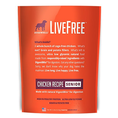 Dogswell Livefree Senior Chicken Dry Dog Food 12Lb