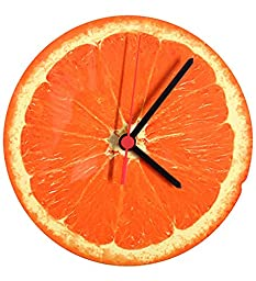 RANGRAGE Designer Handpainted Wooden Decorative Round Kid\'s Wall Clock Colorful Clock Kid\'s Room Home Decoration Orange