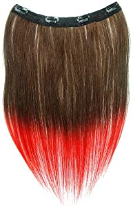 Tressecret Ombre Tail Dip-Dye Clip In Extension, 16 inches 18 inches, Dark Brown and Red