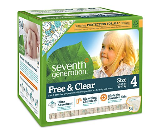 Seventh Generation Free and Clear Baby Diapers, Stage 4, 54 Count (7th Generation Stage 4 Diapers compare prices)