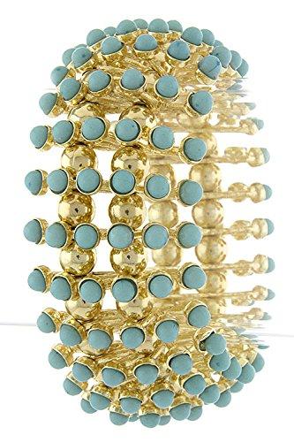 Karmas Canvas Faux Gem Bubble Bracelet (Turquoise) front-204623